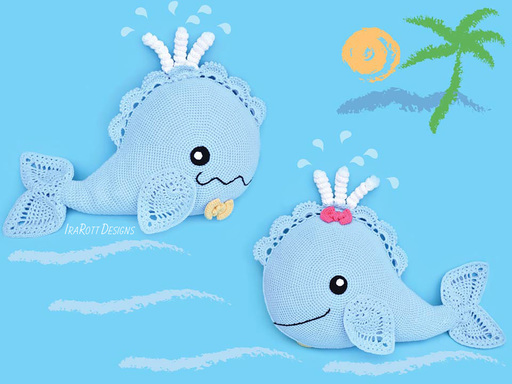 Crochet Pattern PDF for making a beautiful Whale Animal Pillow with Lace Fins