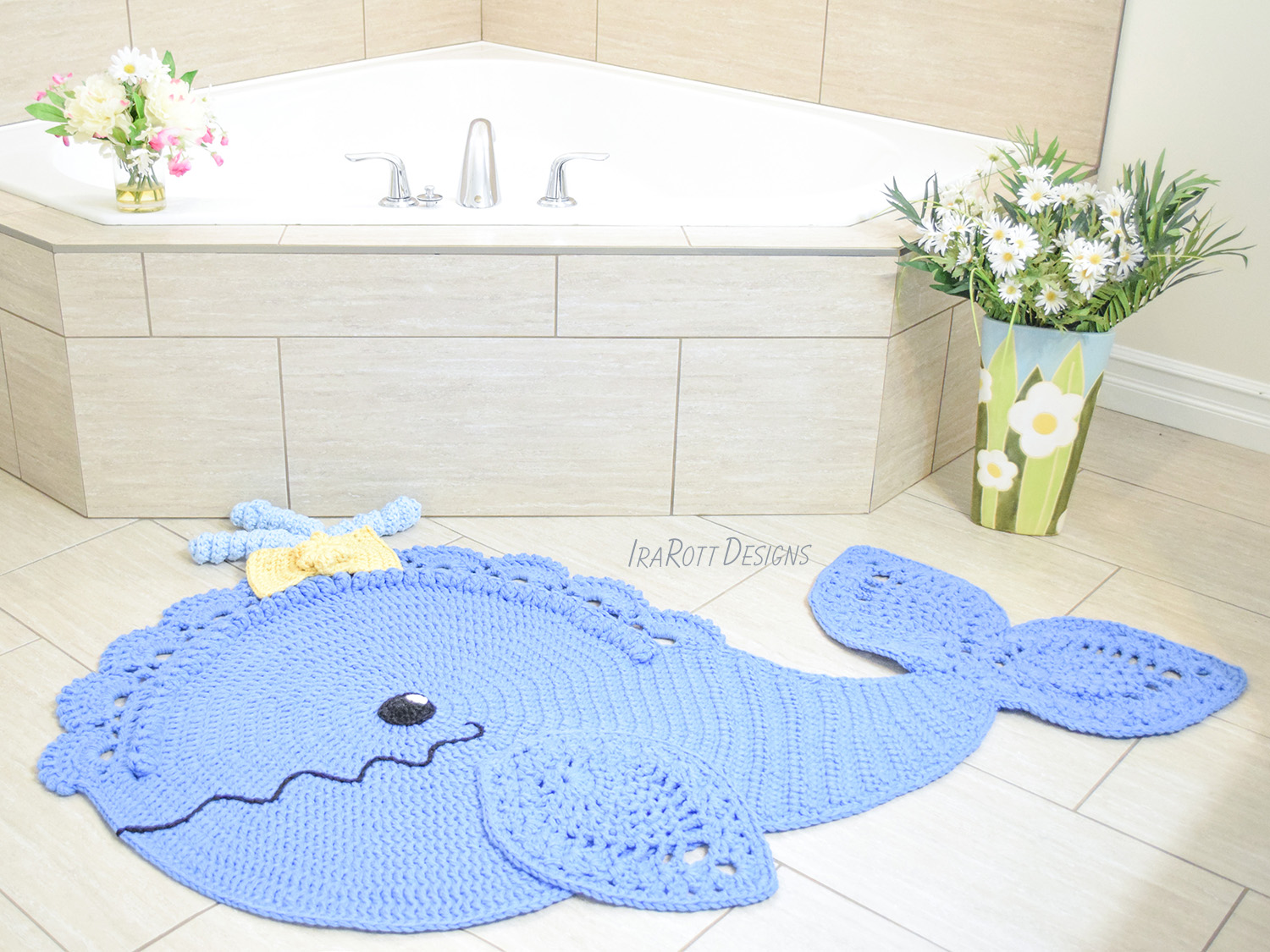 Whale Animal Rug or Nursery Mat Crochet Pattern PDF