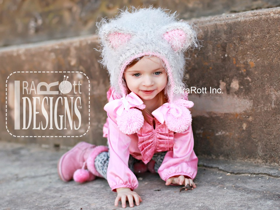 Furry Foxy Cat Bonnet PDF Crochet Pattern - IraRott Inc.