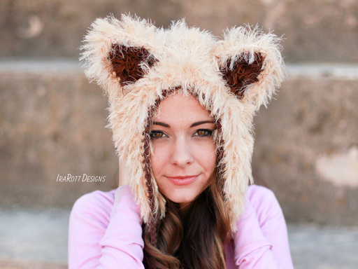 Foxy Cat Animal Hat Crochet Pattern for Babies Infants Toddlers Kids and Adults