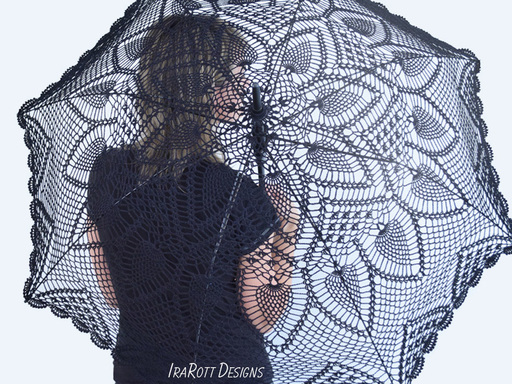 Crochet Pattern in PDF for making Pineapple Lace Parasol or Wedding Stick Umbrella