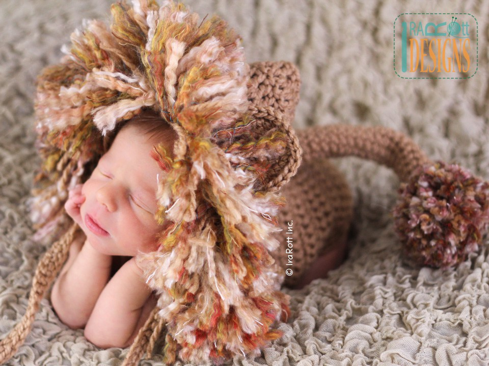 Jungle Lion Hat and Diaper Cover Set PDF Crochet Pattern - IraRott Inc ...
