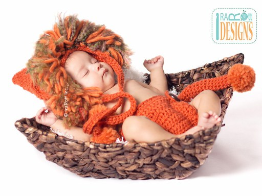 Baby Lion Animal Hat and Diaper Cover Crochet Pattern