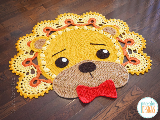 Crochet pattern PDF by IraRott for making an adorable lion rug or reading mat