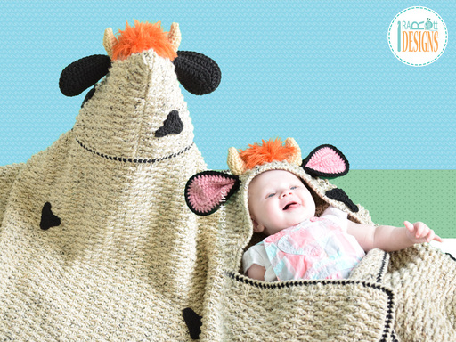 Crochet Pattern PDF Cow Blanket with Hood for Boys, Girls, Kids and Babies