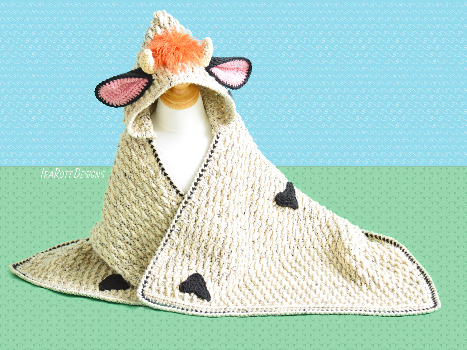 Luna The Moo Moo Cow Hooded Blanket Pdf Crochet Pattern Irarott Inc