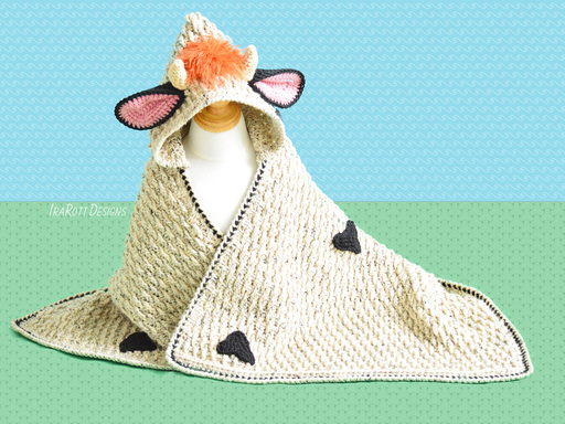 Crochet Pattern PDF Cow Blanket with Hood for Kids and Babies