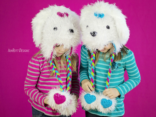 PDF Crochet Pattern for making an adorable Furry Maltese Puppy Dog Hat with Hearts on PomPoms.