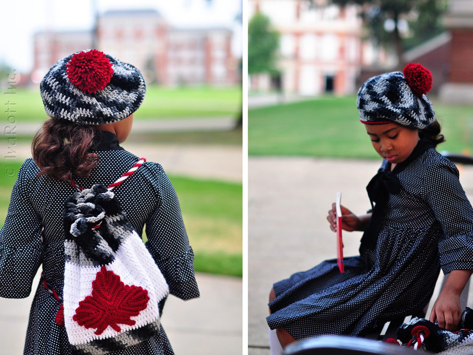 Backpack with Maple Leaf Applique and Classic Beret with Pom Pom Crochet Pattern