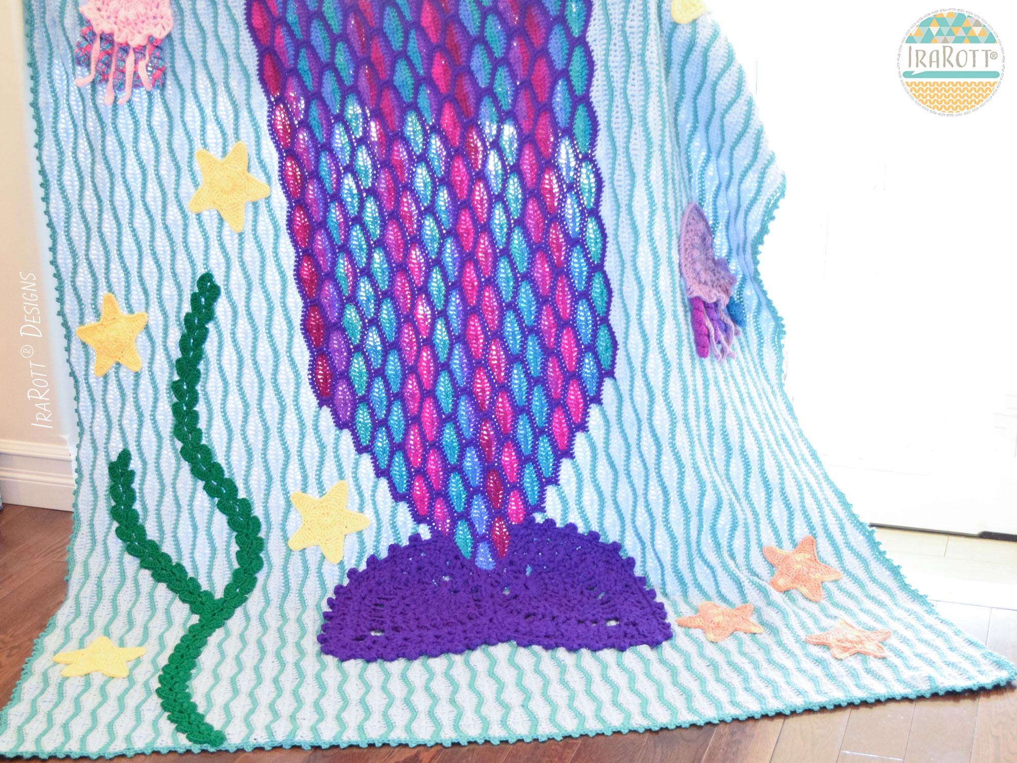 Mica the Mermaid and Jellyfish Blanket PDF Crochet Pattern - IraRott ...