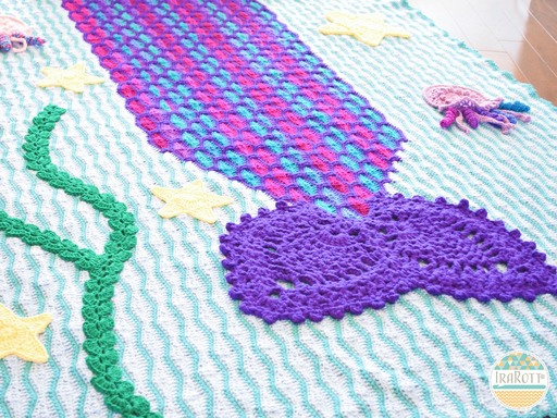 Mica the Mermaid and Jellyfish Blanket PDF Crochet Pattern With Instant Download by IraRott