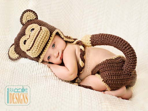 Chimpanzee Monkey Animal Hat and Diaper Cover for Babies Crochet Pattern by IraRott