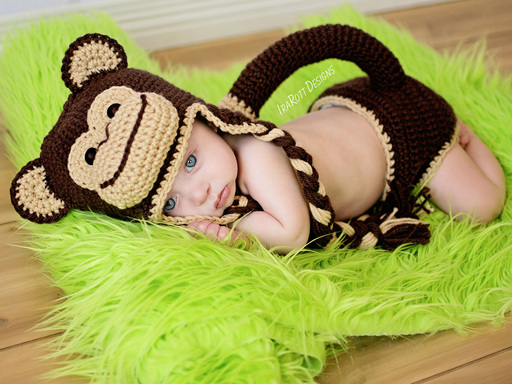 PDF Crochet Pattern for making a cute Chimpanzee Monkey Hat and Diaper Cover for Babies