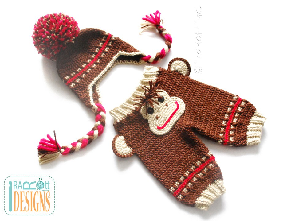 43c74e51c27 PDF Crochet Pattern for making a cute Monkey Pants with Matching Hat for  Kids and Babies