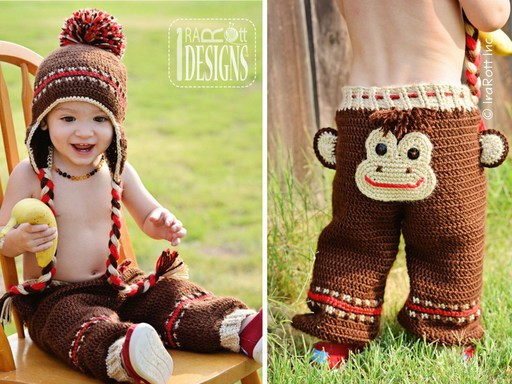 PDF Crochet Pattern for making a cute Monkey Pants with Matching Hat for Kids and Babies.