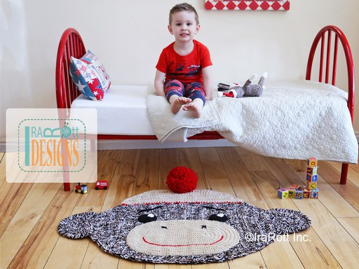 Sock Monkey Animal Rug or Nursery Mat Carpet Crochet Pattern by IraRott