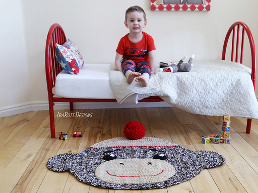 Sock Monkey Rug or Nursery Mat Carpet Crochet Pattern by IraRott