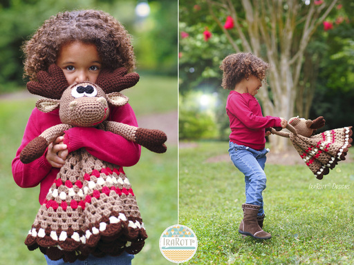 Moose Animal Lovey Security Blanket Crochet Pattern for boys and girls of all ages by IraRott