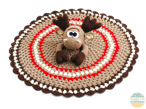 Moose Animal Lovey Security Blanket Crochet Pattern for babies and children by IraRott