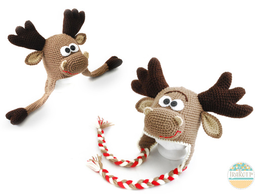 Moose Animal Hat Crochet Pattern for boys and girls of all ages by IraRott