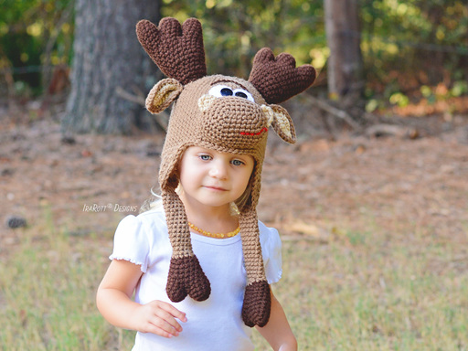 Moose Animal Hat Crochet Pattern for Babies Kids and Adults by IraRott
