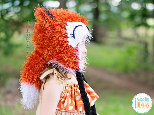 Crochet pattern PDF for making a cute furry fox animal hat with tail for boys and girls of all ages