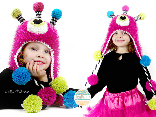 Alien Monster Hat and Matching Stuffie Crochet Pattern for Babies Kids and Adults