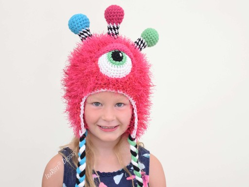 PDF Crochet Pattern for making an adorable Furry Monster Hat with Gumball Antennas and Matching Alien Toy
