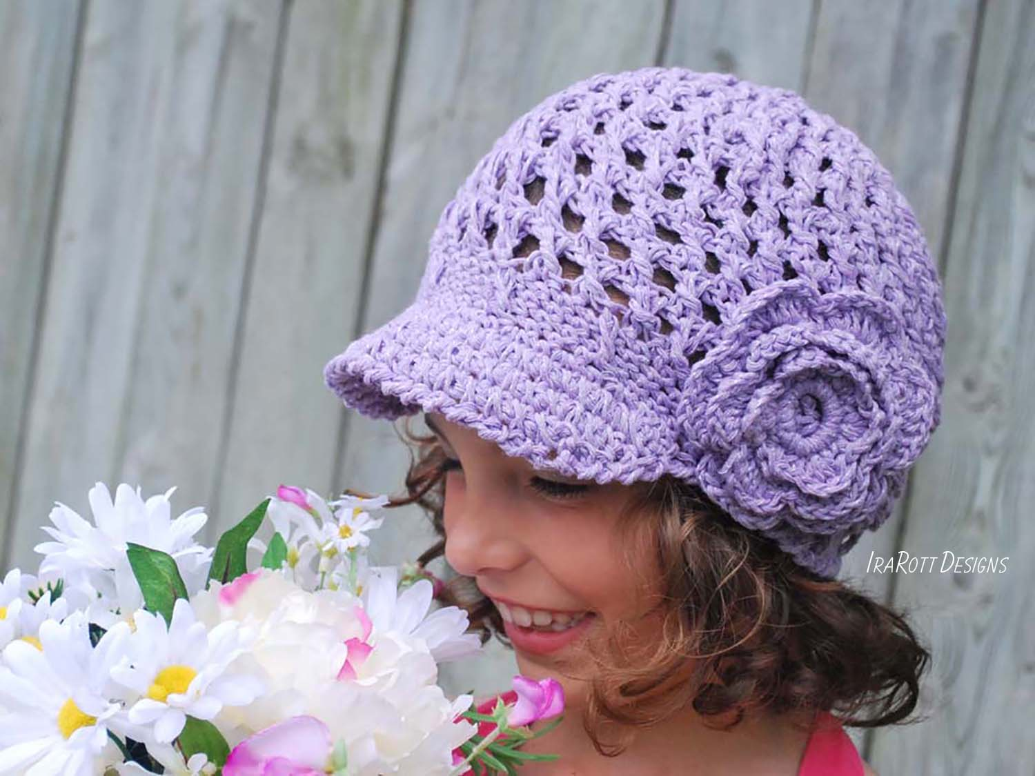 Summer Beanie With Brim And Flower Pdf Crochet Pattern Irarott Inc