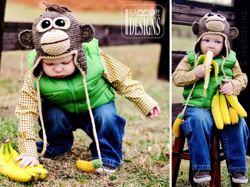PDF Crochet Pattern for making a cute Orangutan Hat with Banana Ties