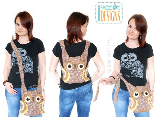 PDF Crochet Pattern for making a beautiful Owl Bag or Backpack or Belt Pouch for your craft supplies