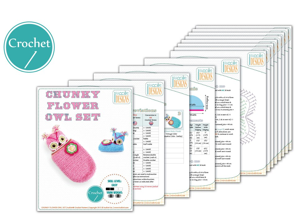 Chunky Flower Owl Hat And Cocoon Pdf Crochet Pattern Irarott Inc