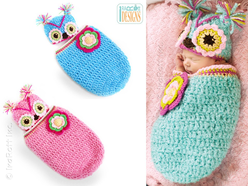 Owl Baby Animal Hat and Cocoon Crochet Pattern for Babies by IraRott