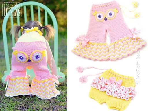 PDF Crochet Pattern for making Ruffled Shorts or Chevron Owl Pants for Kids and Babies