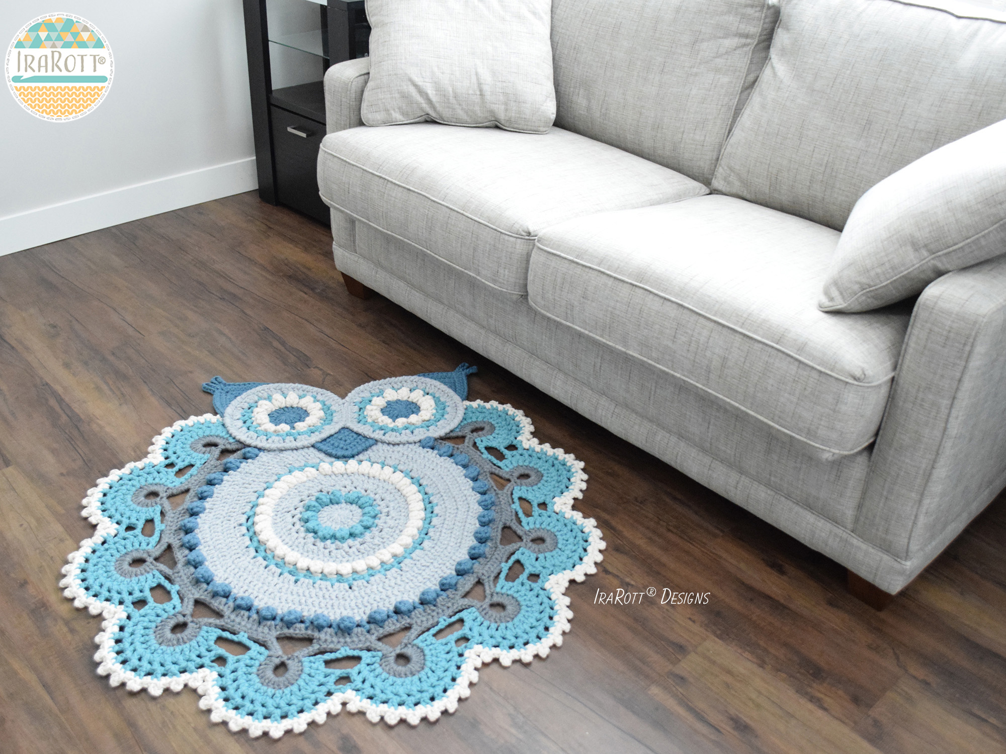 Crochet Patterns Free Rugs : Retro Owl Rug or Doily Rug PDF Crochet Pattern - IraRott Inc.