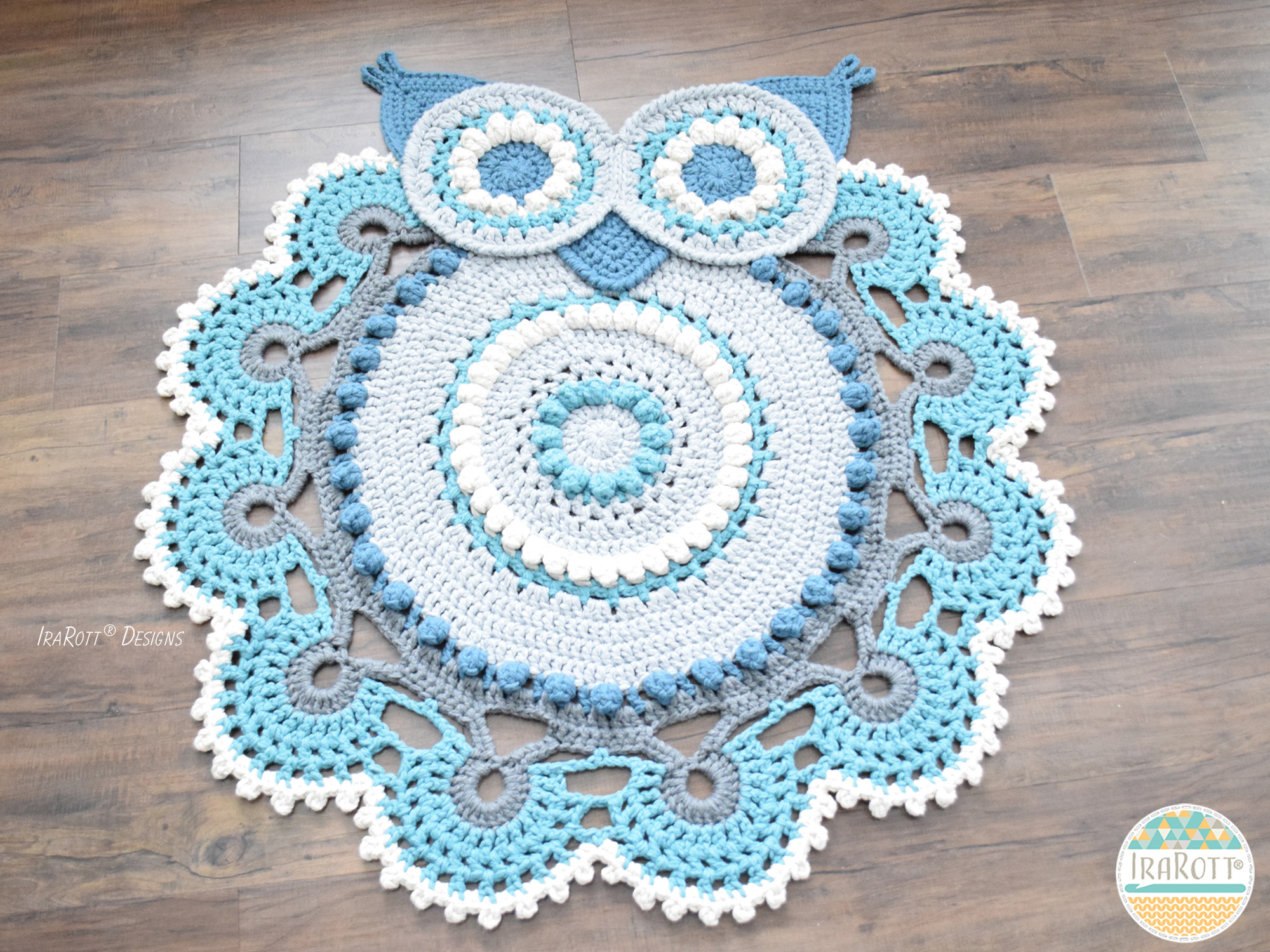 Crochet Afghan Rugs Pattern Free : Retro Owl Rug or Doily Rug PDF Crochet Pattern - IraRott Inc.
