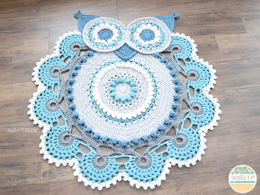 PDF Crochet Pattern for making a Multicolored Retro Owl Rug or Doily Rug Nursery Mat for Home Decor.