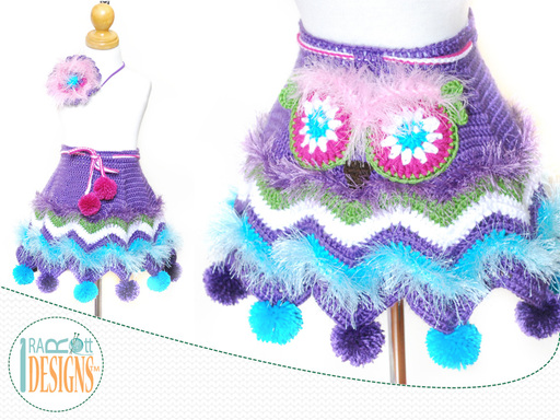 PDF Crochet Pattern for making a cute Chevron Owl Skirt with pompoms and Flower Headband