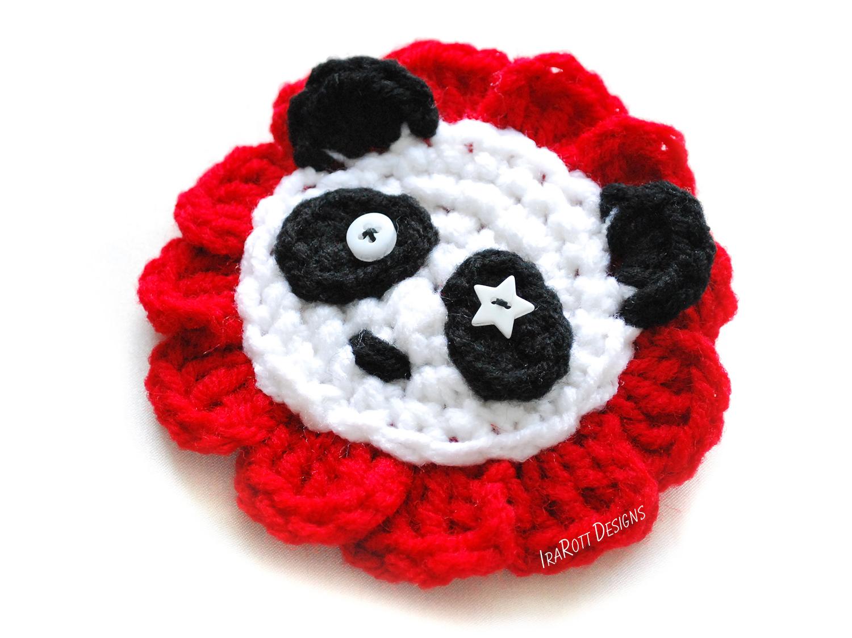 Panda bear flower applique pdf crochet pattern irarott inc.