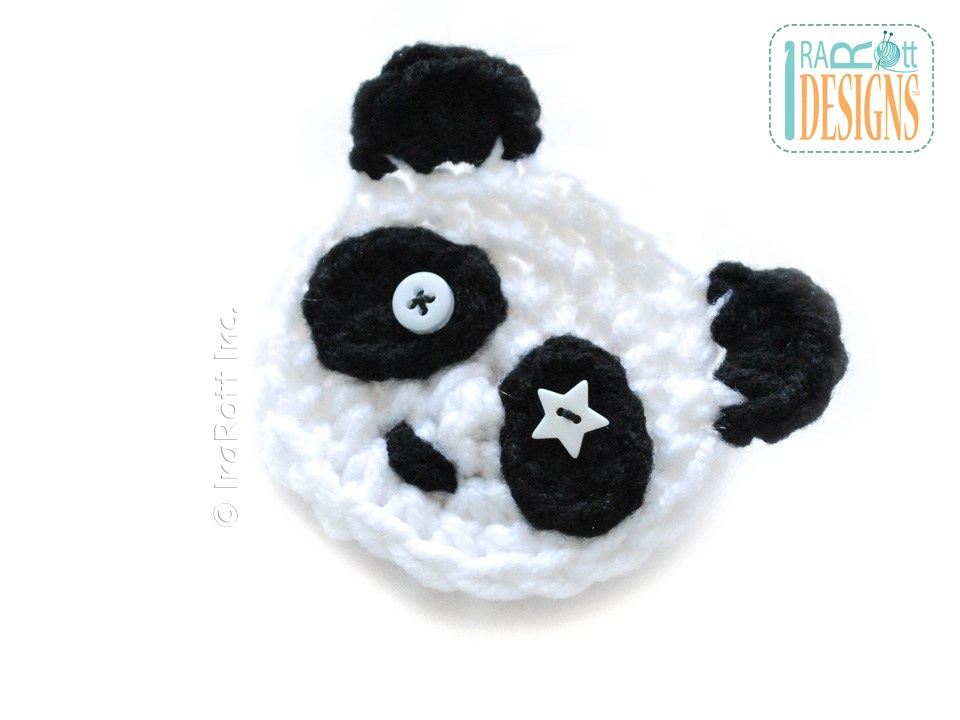 Panda Bear Flower Applique Pdf Crochet Pattern Irarott Inc