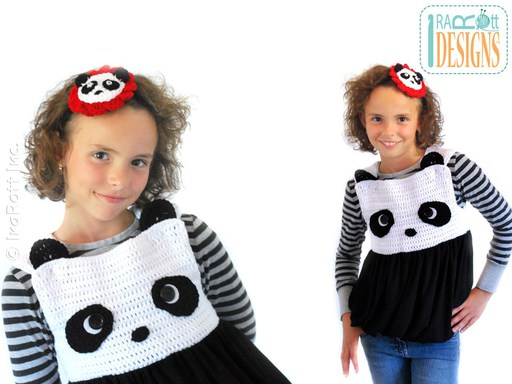 PDF Crochet Pattern for making a Bubble Dress or Top with Panda Face