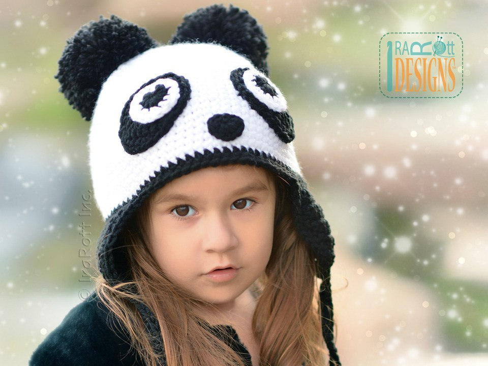 43d7011c41c Panda Bear Animal Hat Crochet Pattern for babies kids and adults by Irarott