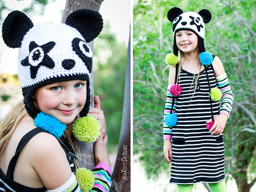 PDF Crochet Pattern for making a Panda Hat with a Star Patch and Pom Poms or with an Oval Patch and Bamboo leaf ties.