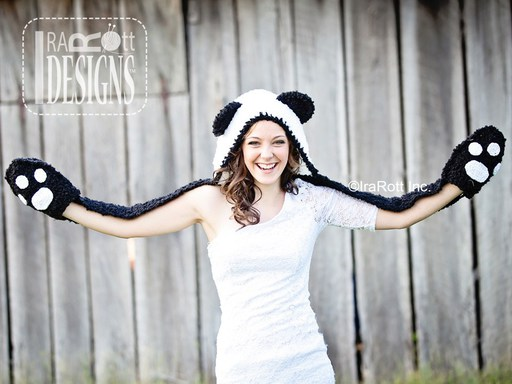 Panda Bear Hood with Scarf PDF Crochet Pattern