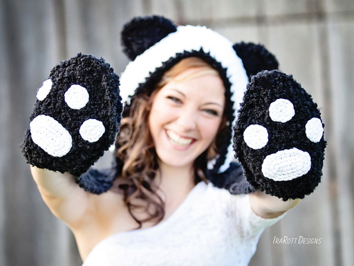 Panda Hat Scoodie with Paws Crochet Pattern by IraRott