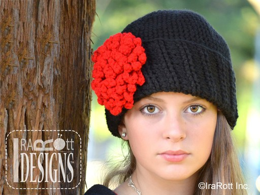 Free PDF Crochet Pattern for making a Stylish Beanie with Dahlia Flower