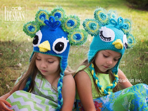 Peacock Animal Hat Crochet Pattern for boys and girls of all ages by Irarott