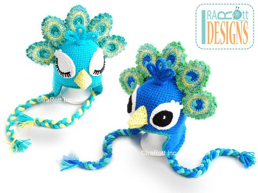 Peacock Animal Hat Crochet Pattern for babies kids and adults by Irarott