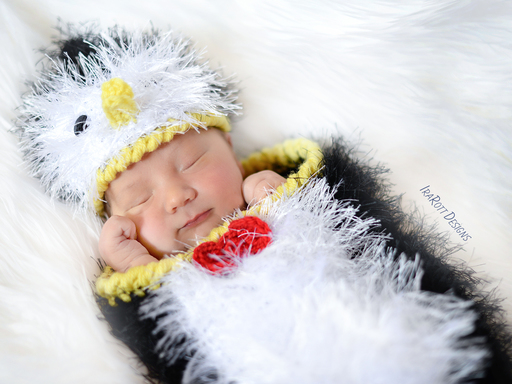 PDF Crochet Pattern for making a furry Penguin Hat and Cocoon Photo Prop Set for Newborn Babies.