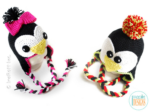 Penguin Animal Hat Crochet Pattern for Babies Kids and Adults by IraRott